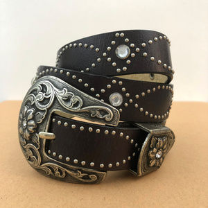 Vintage Black Genuine Leather Double Buckle Belt